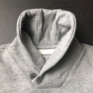 Lands End Heather Gray Shawl Collar Sweatshirt